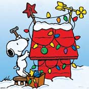 Snoopy decorating his doghouse.